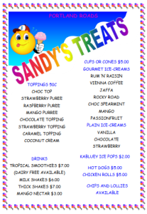 sandys treats menu